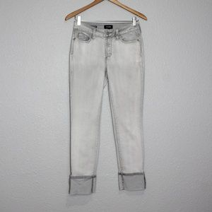 NYDJ Alina Light Grey Wide Cuff Ankle Jeans Size 2